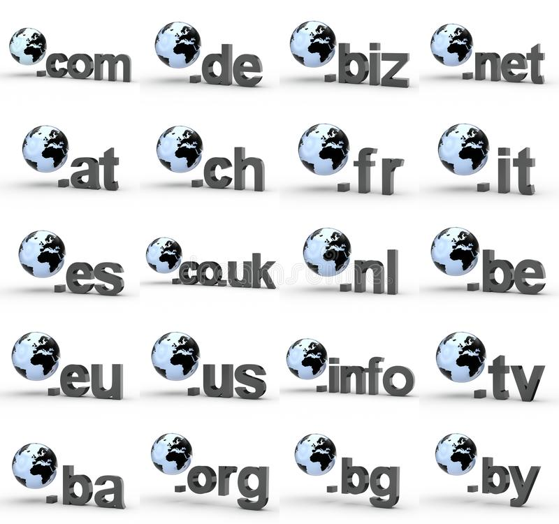 Ensemble de fins d'adresse de Domain Name de site Web avec le globe photo libre de droits