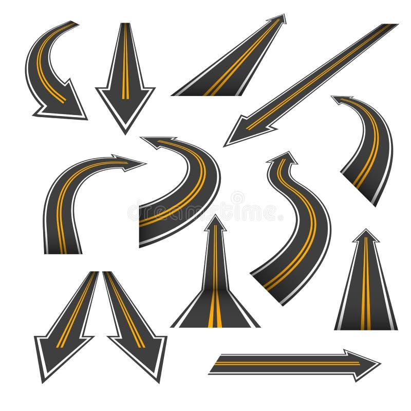Ensemble de flèche de route Routes de flèche avec les taches jaunes illustration de vecteur