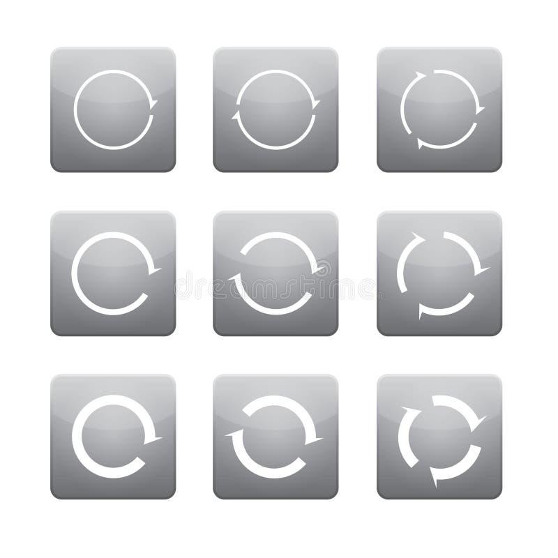 Ensemble de flèches blanches de vecteur dans des boutons gris illustration de vecteur