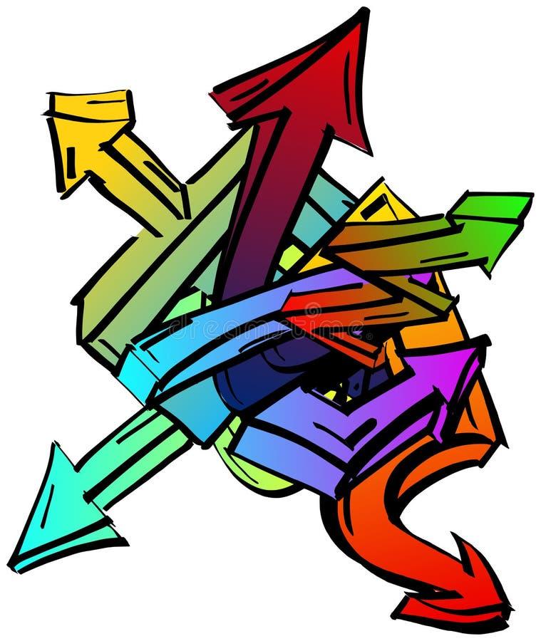 Ensemble de flèches colorées de graffiti illustration libre de droits
