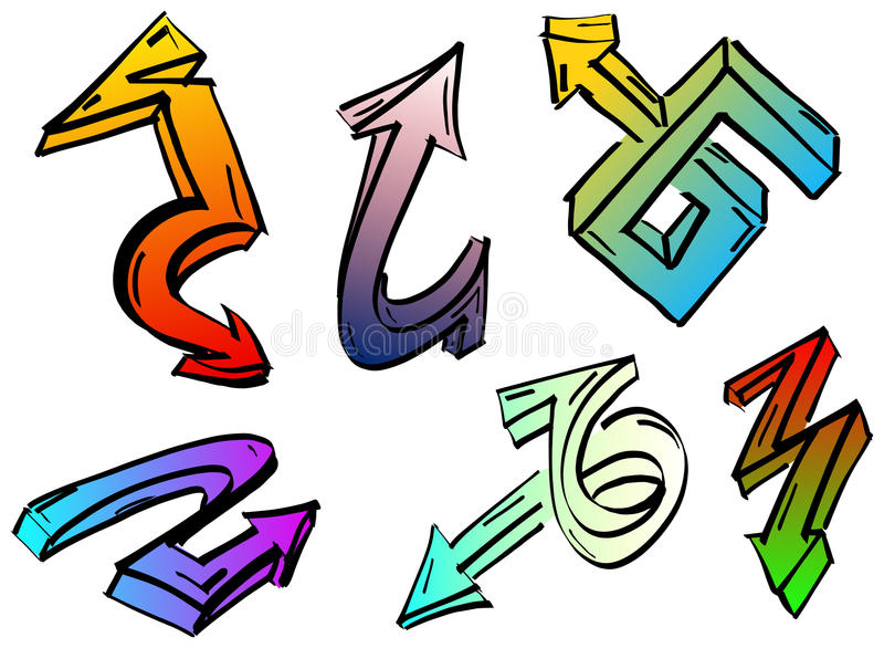 Ensemble de flèches colorées de graffiti illustration stock