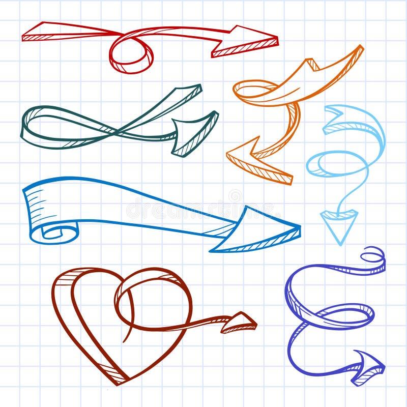 Ensemble de flèches de griffonnage de vecteur illustration de vecteur