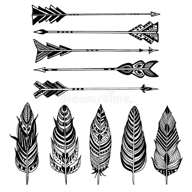 Ensemble de flèches et de plumes sur le fond blanc Ensemble d'éléments ornementaux de style de Boho Illustration de vecteur illustration de vecteur