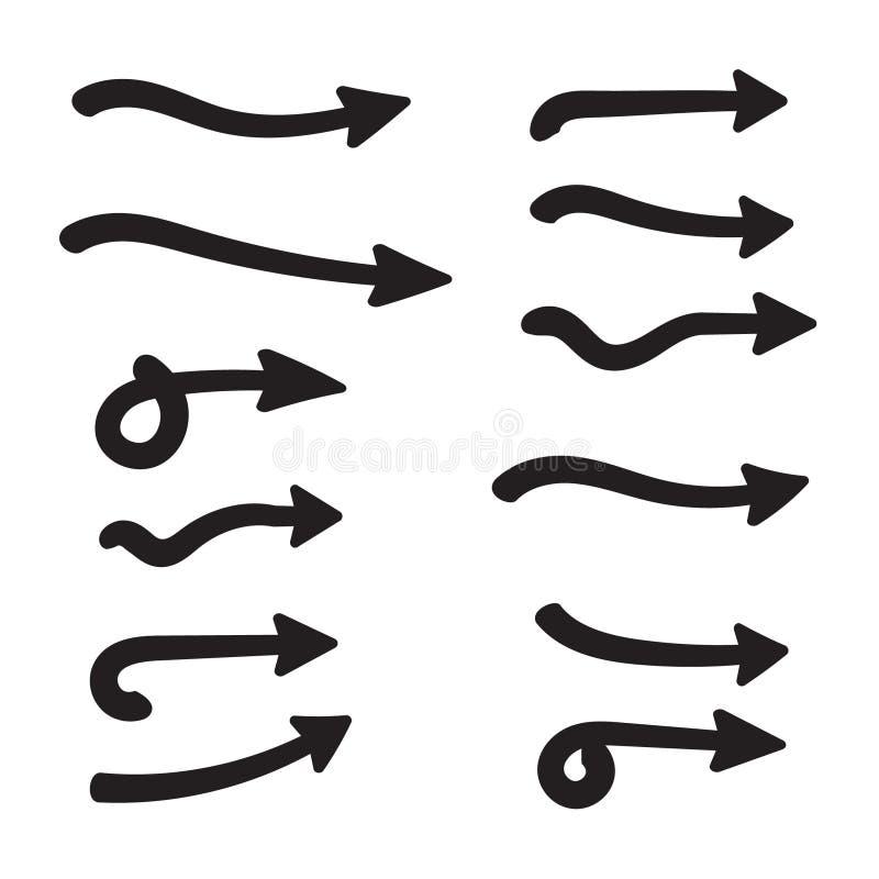 Ensemble de flèches incurvées par vecteur tirées par la main Style de griffonnage de croquis Collection d'indicateurs illustration stock