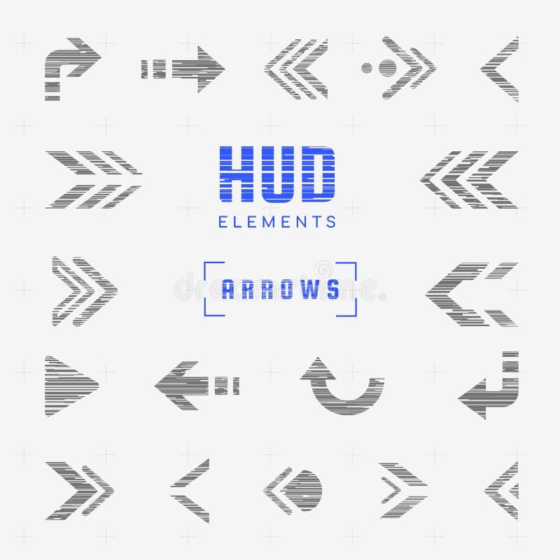 Ensemble de flèches, indicateurs, directions, navigation Éléments futuristes de conception de hud d'interface pour l'ui Autocolla illustration de vecteur