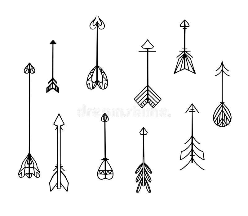 Ensemble de flèches noires et blanches de boho illustration stock