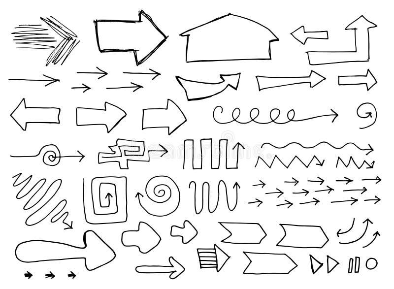 Ensemble de flèches peu précises tirées par la main d'isolement sur Baclground blanc illustration stock