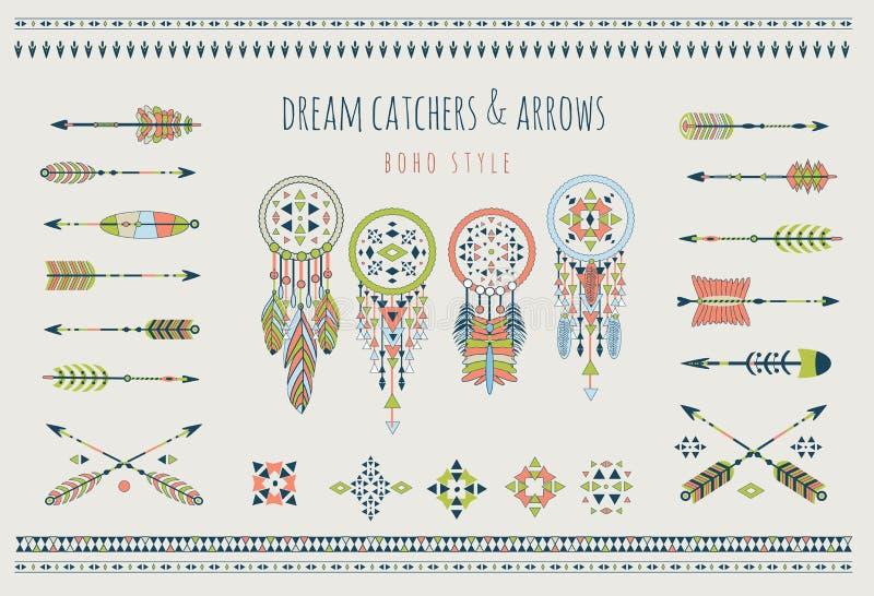 Ensemble de flèches, receveurs rêveurs, éléments indiens illustration libre de droits
