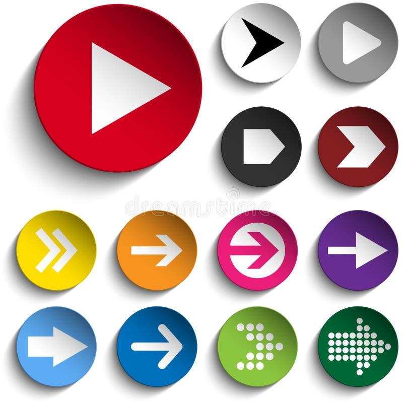 Ensemble de flèches sur les boutons colorés illustration stock