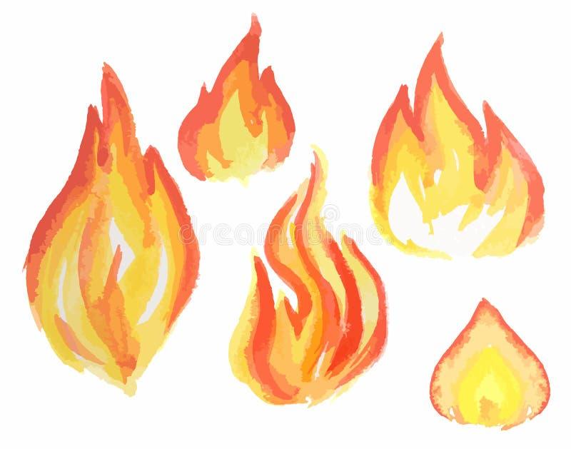 Ensemble de flamme d'aquarelle illustration stock