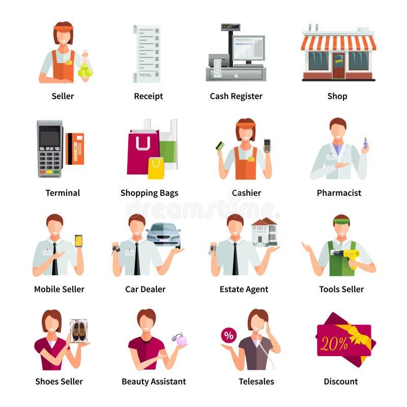Ensemble de Flat Color Icons de vendeur illustration de vecteur