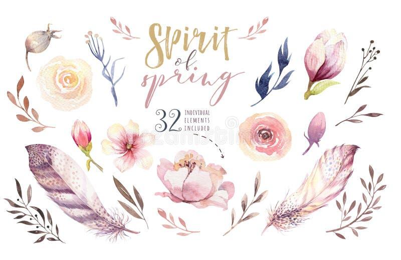 Ensemble de fleur de Boho Collection florale colorée avec des feuilles et des fleurs, aquarelle de dessin Ressort ou conception d illustration libre de droits