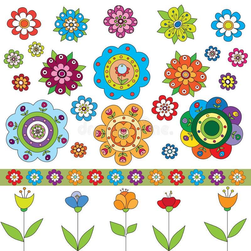 Ensemble de fleurs illustration stock