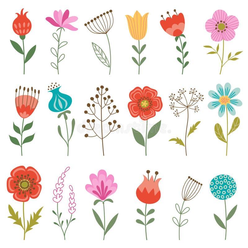 Ensemble de fleurs illustration libre de droits