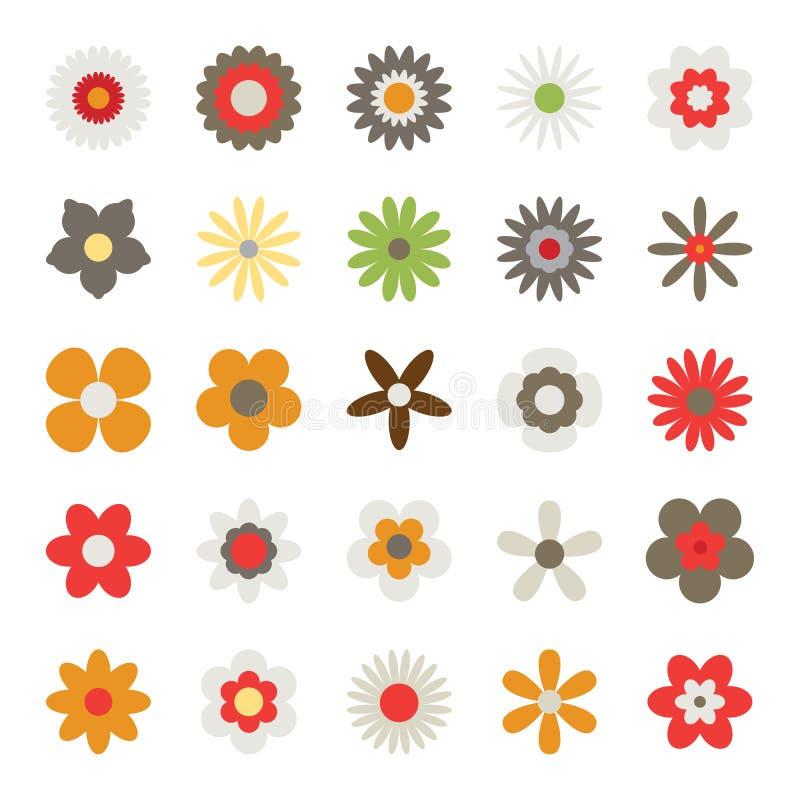 Ensemble de fleurs d'isolement sur le fond blanc illustration de vecteur