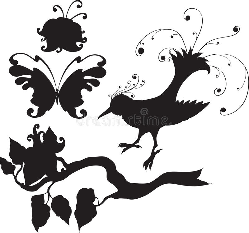Ensemble de fleurs et d'animaux illustration libre de droits