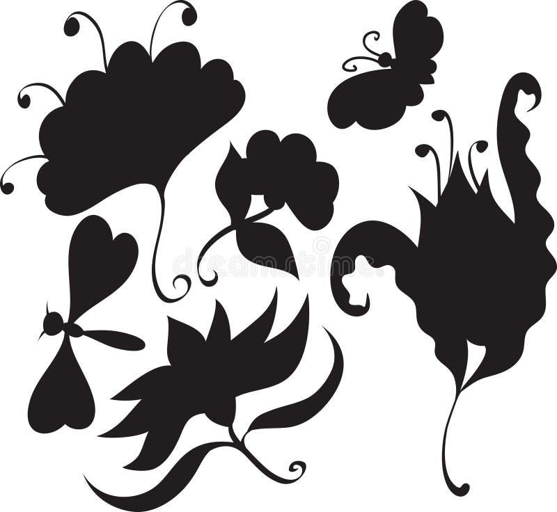 Ensemble de fleurs et d'insectes illustration de vecteur