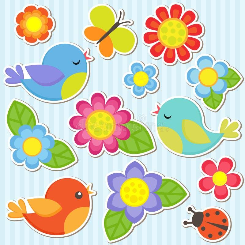 Ensemble de fleurs et d'oiseaux illustration libre de droits