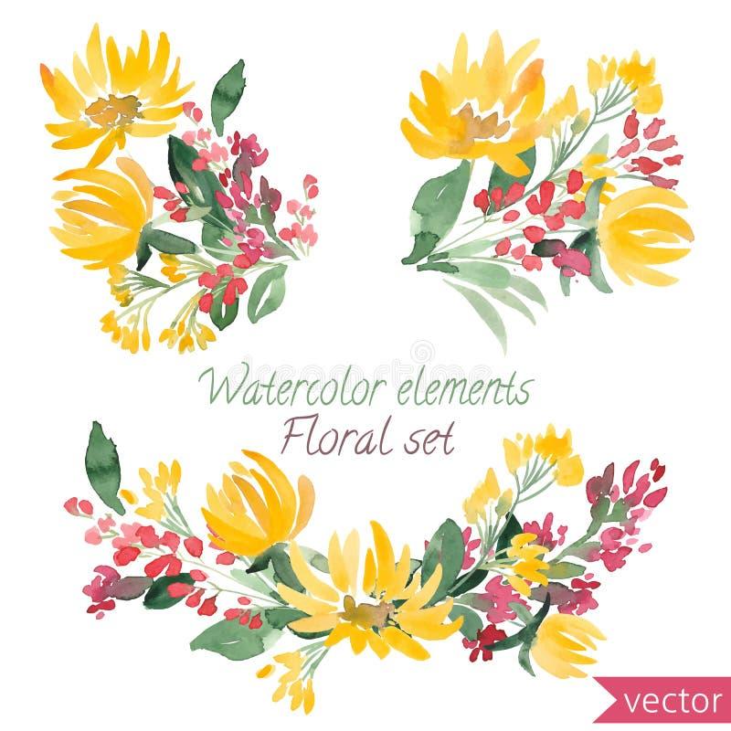 Ensemble de fleurs et de feuille d'aquarelle Dirigez la collection avec des feuilles et des fleurs, dessin de main illustration libre de droits