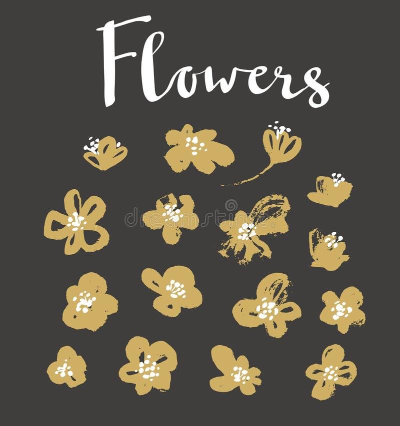 Ensemble de fleurs grunges élégantes d'or de vecteur illustration libre de droits