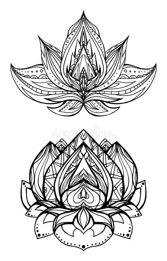Ensemble de fleurs de lotus avec le modèle de boho illustration libre de droits