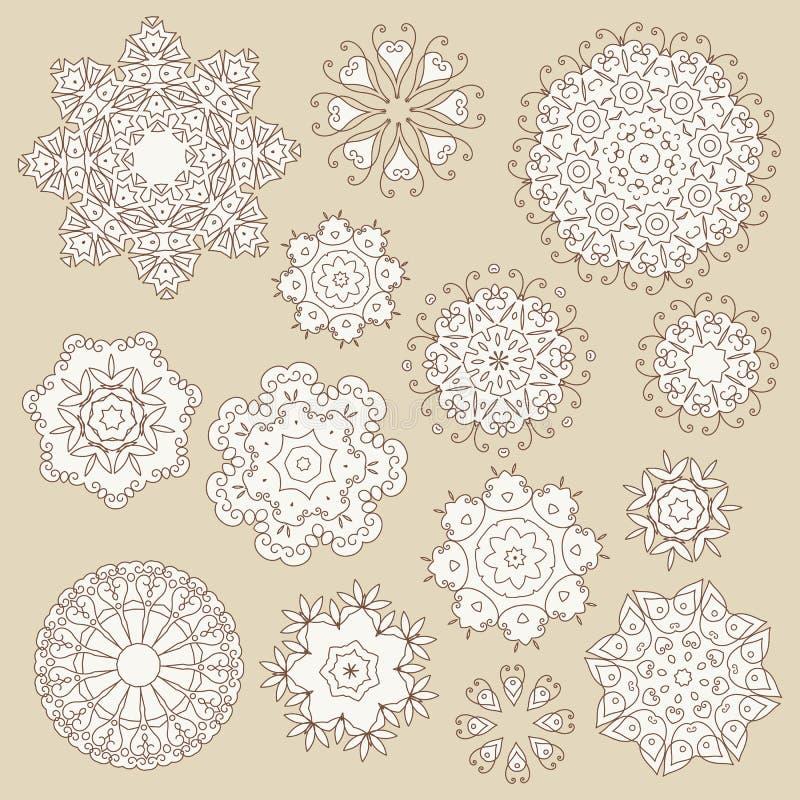 Ensemble de flocon de neige d'éléments de vintage illustration stock