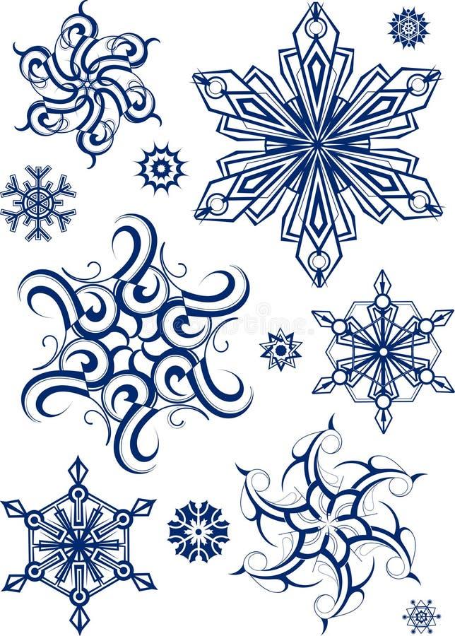 Ensemble de flocons de neige illustration stock