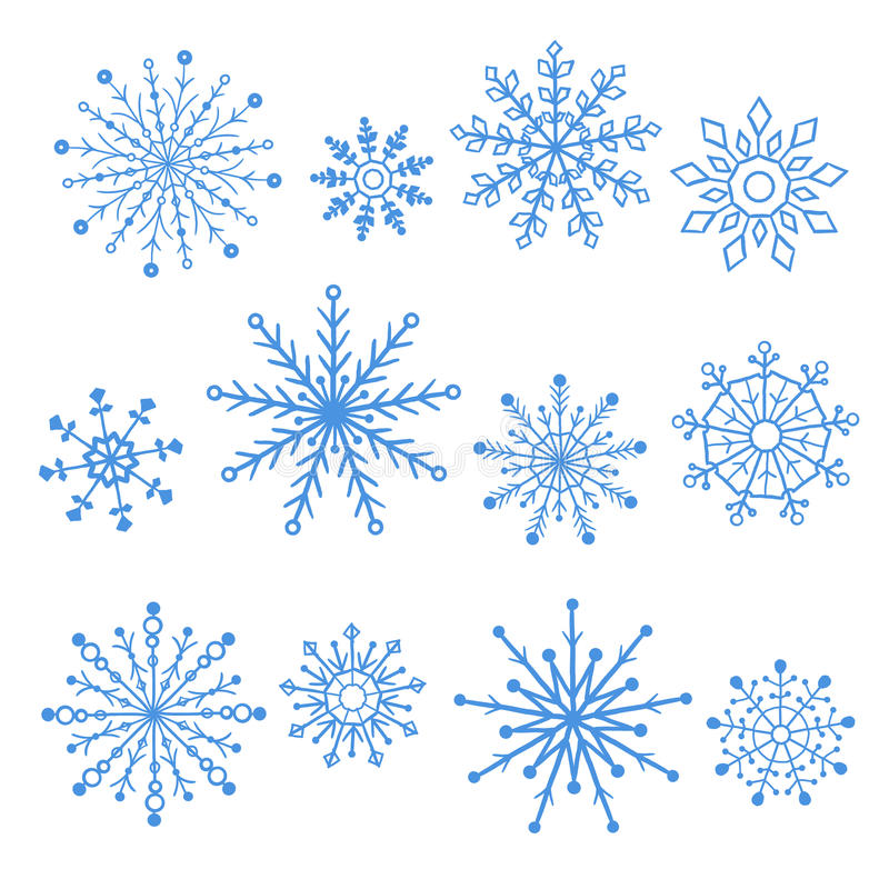 Download Ensemble De Flocons De Neige Bleus De Vecteur Illustration de Vecteur - Illustration du beau, fond: 76077355