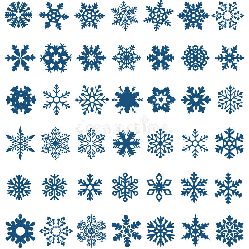 Ensemble de flocons de neige bleus de vecteur sur un fond blanc photos libres de droits