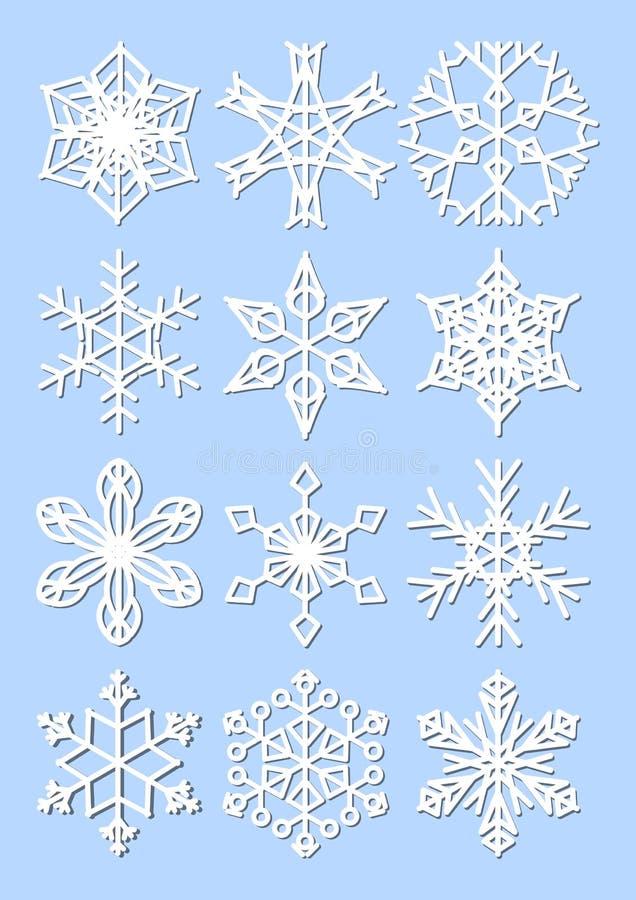 Ensemble de flocons de neige, conception de monoline avec l'ombre fine Éléments de conception d'hiver sur le fond bleu-clair illustration stock