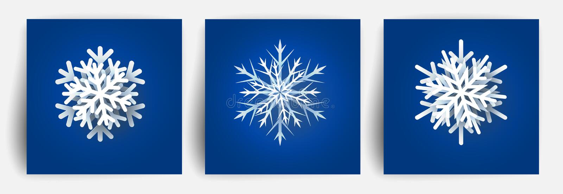 Ensemble de flocons de neige de Noël Éléments de papier de conception de la coupe 3d Flocon de neige de coupe de papier de Noël I illustration stock