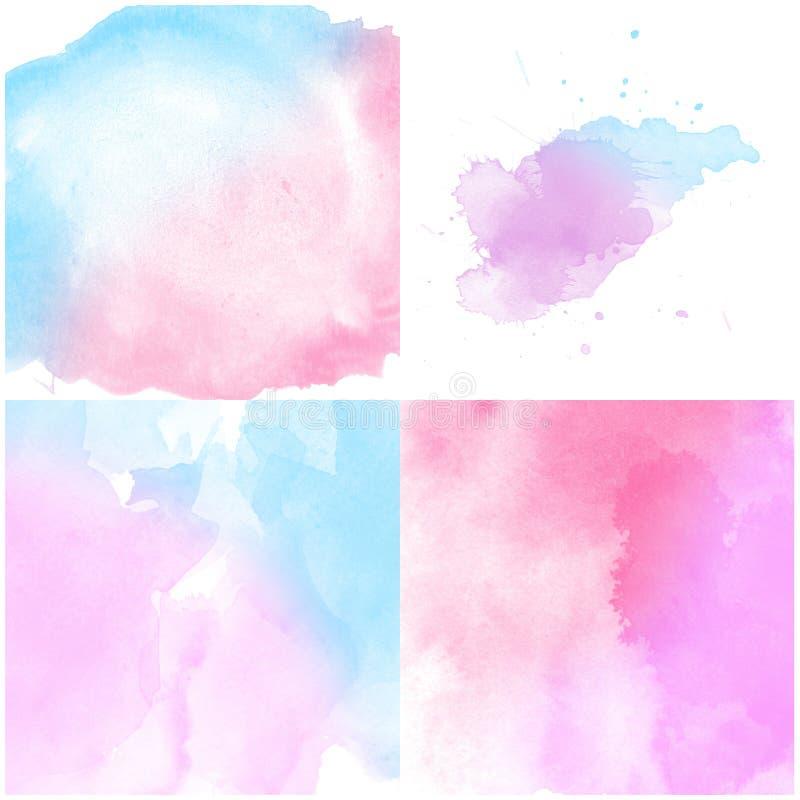 Ensemble de fond abstrait bleu rose de couleur d'eau illustration stock