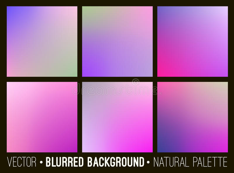 Ensemble de fond brouillé par résumé de couleur Palette violette lilas rose Lissez le concept de fleur de collection d'éléments d illustration libre de droits