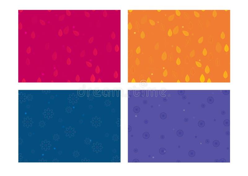 Ensemble de fond coloré de 4 fleurs photos libres de droits