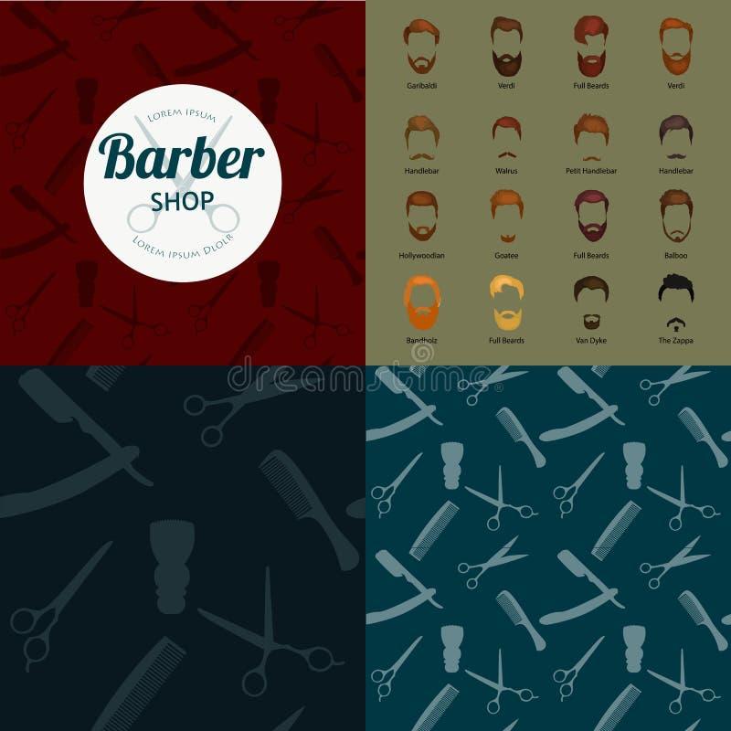 Ensemble de fond de Barber Shop ou de coiffeur illustration stock