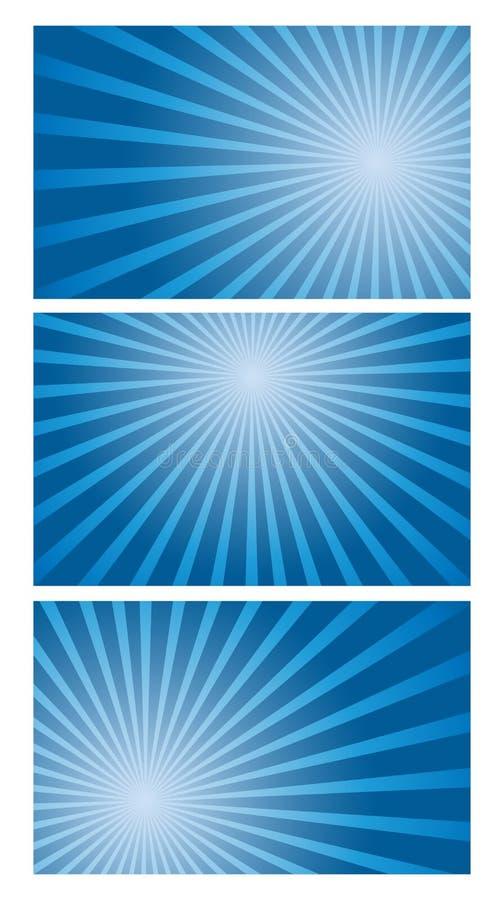 Ensemble de fond de vecteur de radial bleu de gradient illustration libre de droits
