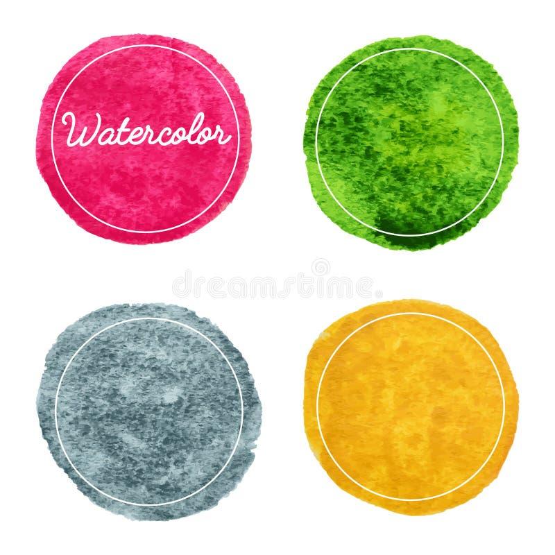Ensemble de fond tiré par la main de cercles d'aquarelle multicolore illustration libre de droits