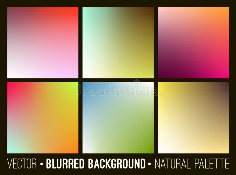 Ensemble de fond trouble mou abstrait Palette de fleur Collection colorée douce de calibre de bannière illustration de vecteur