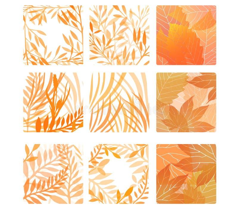 Ensemble de formes carrées avec des feuilles et des herbes d'automne illustration libre de droits