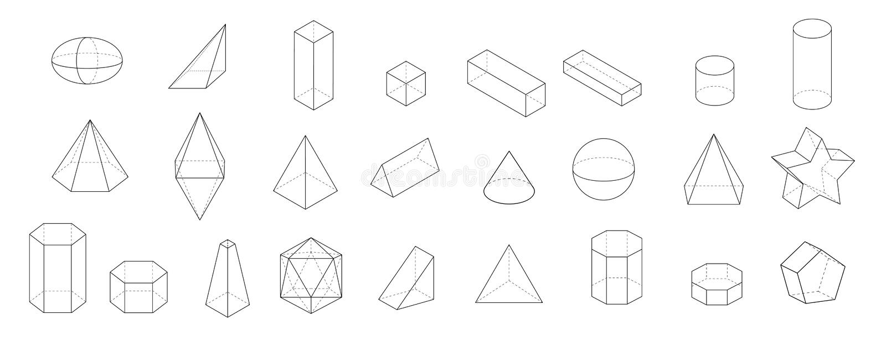 Ensemble de formes 3d géométriques de base Vecteur géométrique de solides sur un fond blanc illustration de vecteur