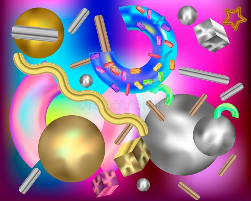 Ensemble de formes 3d géométriques réalistes Grande collection des formes abstraites olographes, géométriques, colorées à la mode illustration de vecteur