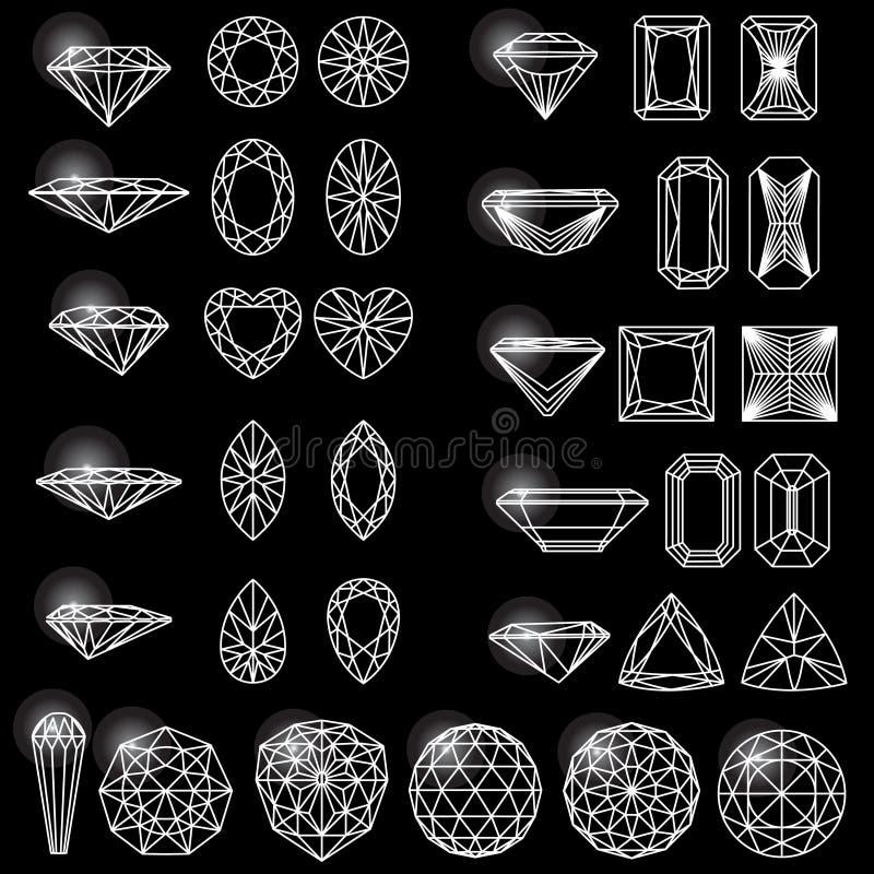 Ensemble de formes de diamant illustration libre de droits