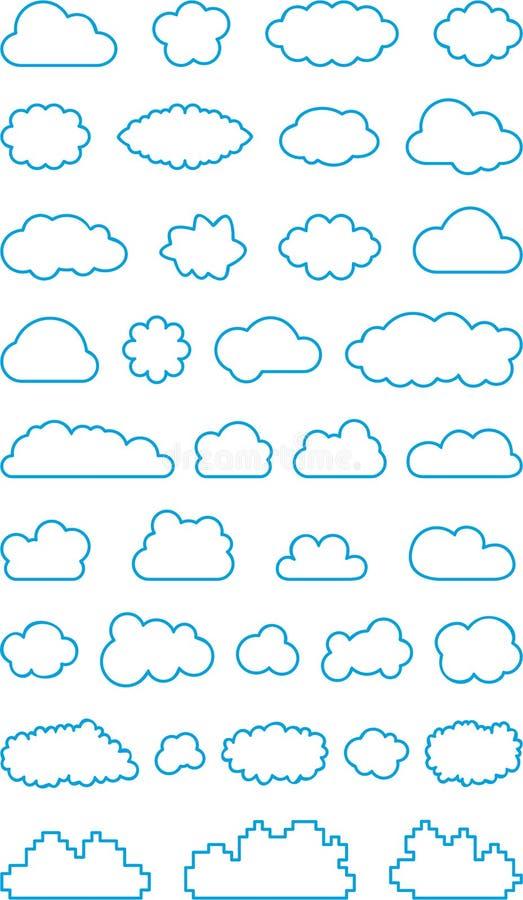 Ensemble de formes de nuage illustration de vecteur