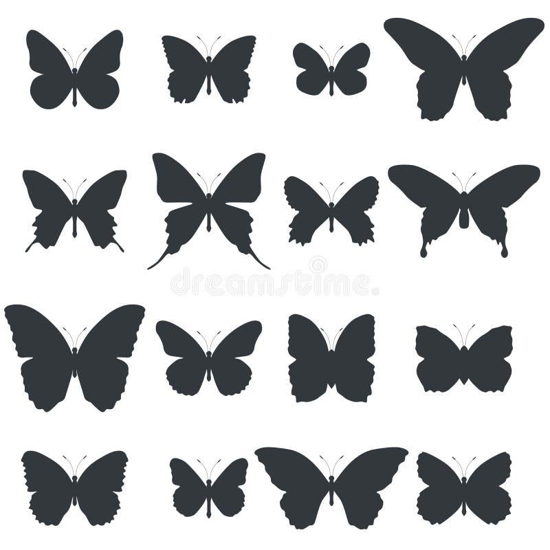 Ensemble de formes de papillon illustration stock