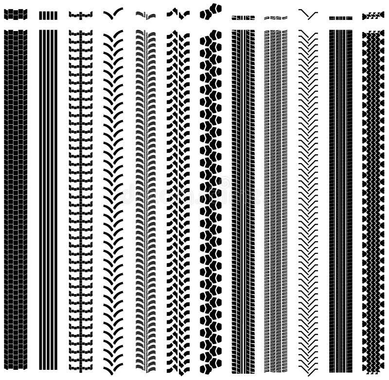 Ensemble de formes de piste de pneu illustration de vecteur