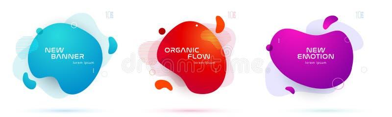 Ensemble de formes géométriques d'abrégé sur liquide couleur Éléments liquides de gradient pour la bannière minimale, logo, courr illustration stock