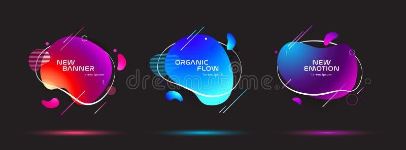 Ensemble de formes géométriques d'abrégé sur liquide couleur Éléments liquides de gradient pour la bannière minimale, logo, courr illustration libre de droits
