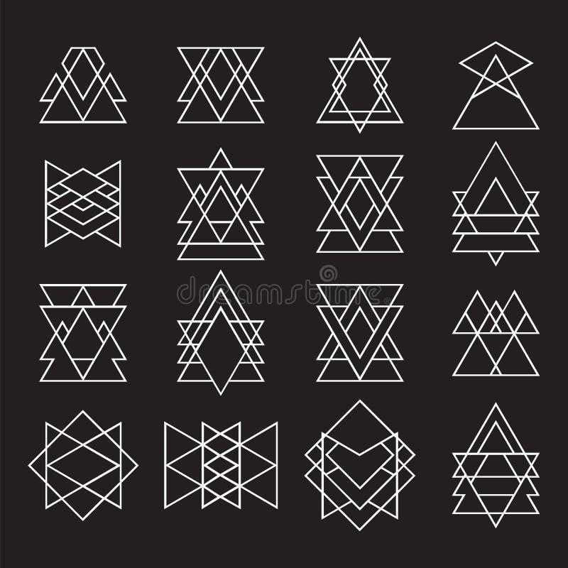 Ensemble de formes géométriques pour votre conception Logotype à la mode de hippie photographie stock libre de droits
