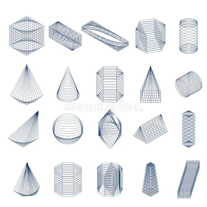 Ensemble de formes géométriques Vue isométrique illustration de vecteur