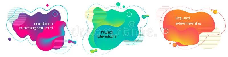 Ensemble de formes g?om?triques d'abr?g? sur liquide couleur Éléments liquides de gradient pour la bannière minimale, logo, Dy à  illustration libre de droits